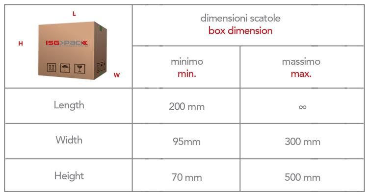 Formato scatole per macchine nastratrici Isg Pack