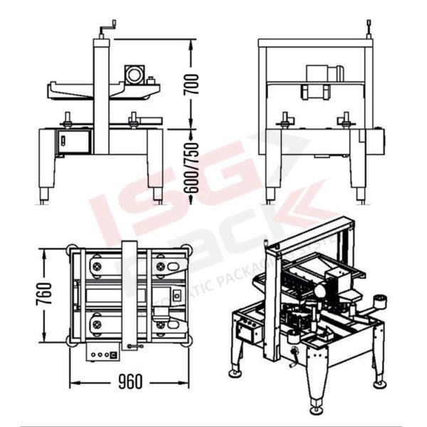 Semi-automatic carton sealer Side tape 50 TBB