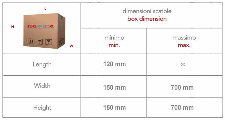 Misure scatola 150x120x150 Easy tape 70 TSB