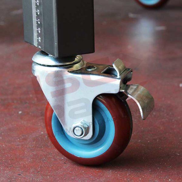 Ruota carrello nastratrice con sistema di blocco