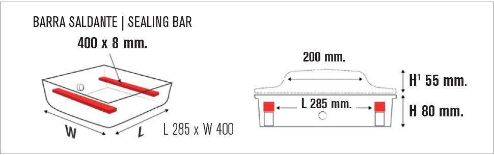 Misure macchina sottovuoto a campana Easy vac 400D FT