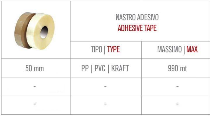 Nastro adesivo utilizzato per nastratrice semiautomatica