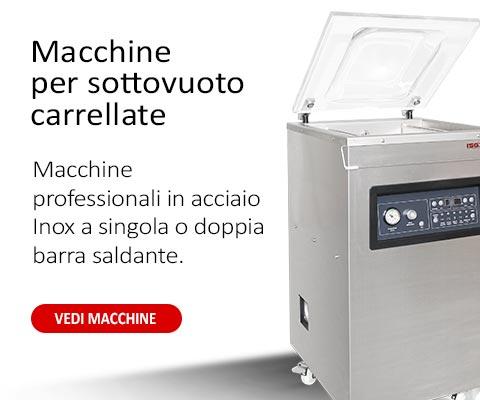 Macchine carrellate per il sottovuoto alimentare professionale con struttura in acciaio inox