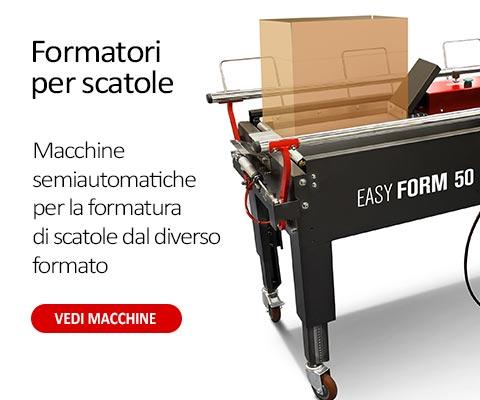 Forma cartoni semiautomatici per la formatura di scatole dal differente formato