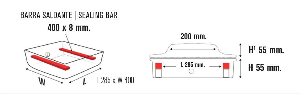 MISURE VASCA VACUUM MACHINES ECO VAC 400D TB