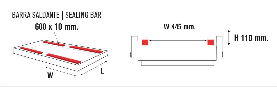 Misure vasca sottovuoto Multi Vac 600 SA II