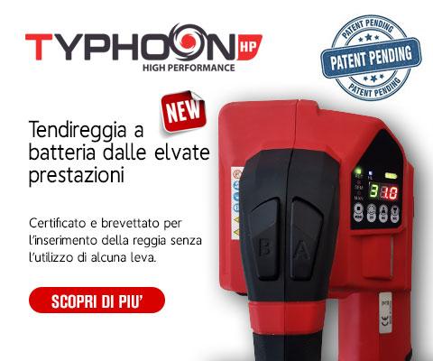 Nuova reggiatrice a batteria modello Typhoon HP con batteria Bosch Professional