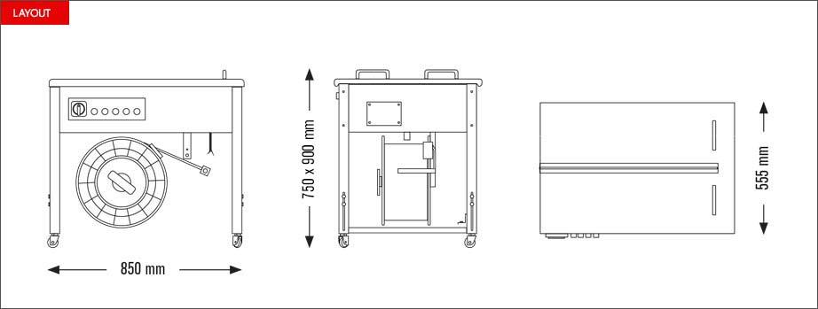 Layout reggiatrice semiautomatica Eco Strap 501