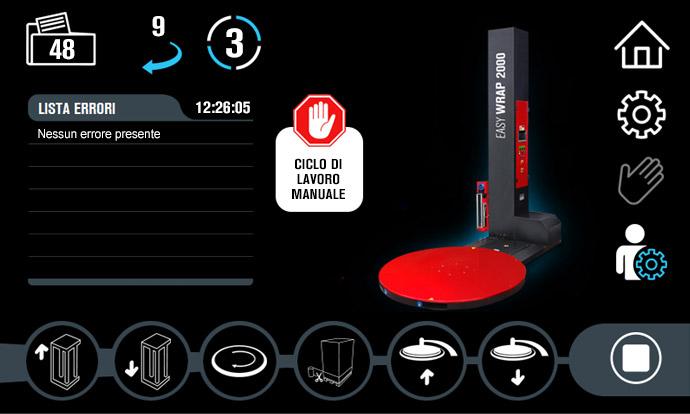 Schermata di gestione manuale della macchina